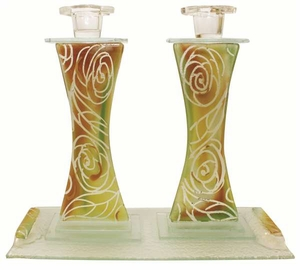 Candlesticks With Tray Clear Design - Roses
