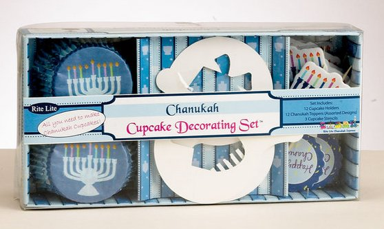Chanukah Cupcake Set, Includes Stencils, Holders and Toppers