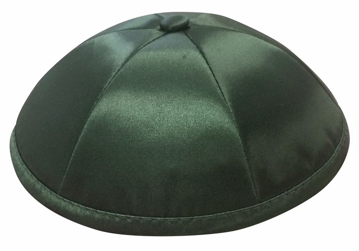Dark Green Deluxe Satin Kippah - Per Piece