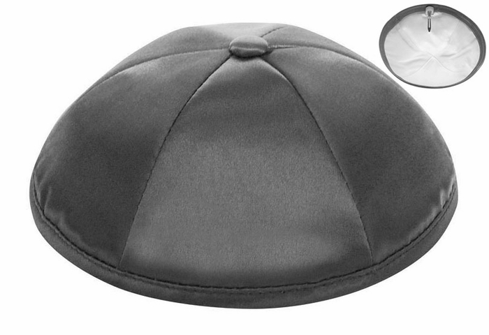 Dark Grey Deluxe Satin Kippah - Per Piece
