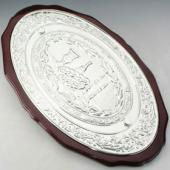 Dark Wood Silver Plated Challah Tray