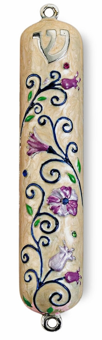 Floral Enameled Mezuzah with Rhinestones - 5""
