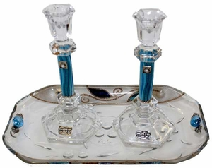 Candle Stick With Tray Large Applique - Ocean Blue With Tulip - Crystal