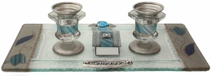 Candle Stick With Tray And Matchbox Small Applique - Ocean Blue With Tulip