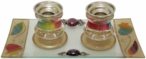 Candle Stick With Tray Small Applique - Rainbow