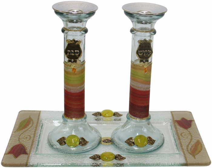 Candle Stick With Tray Large Applique - Colorful