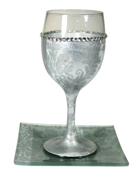 Glass Kiddush cup with Silver Ornaments 16cm