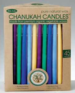 Chanukah Candles - Organic Vegetable Wax, Assorted Colors