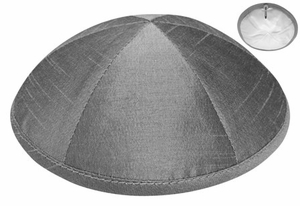 Grey Raw Silk Kippah