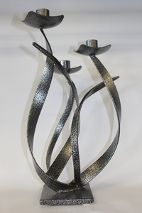 Hand made Metal Shabbat Candlesticks by Israeli Artist