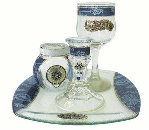 Havdalah Set With Tray Applique - Blue
