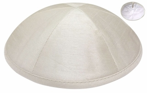 Ivory Raw Silk Kippah
