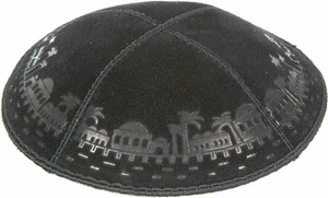 Jerusalem Border Embossed Kippah