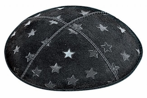 Large 5 Point Stars Embossed Kippah