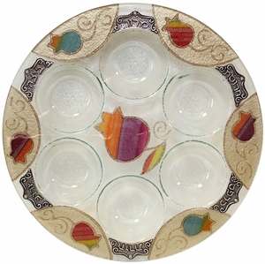 Rainbow Pomegranate Glass Round Seder Plate