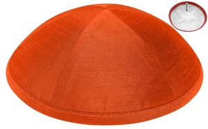 Orange Raw Silk Kippah