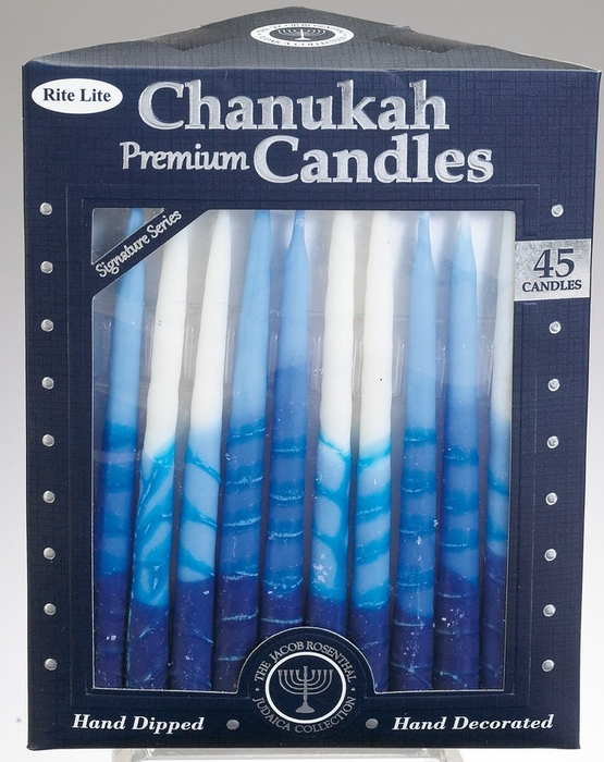 Premium Chanukah Candles - Blue, Light Blue & White, Striped