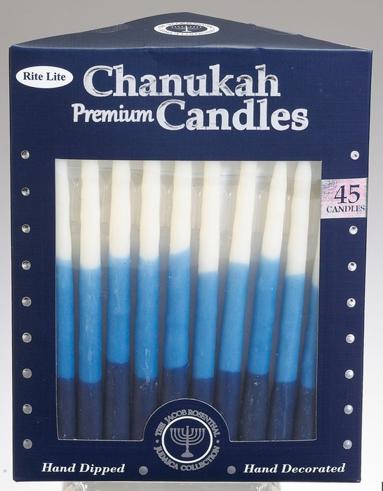 Premium Chanukah Candles - Blue, Light Blue & White