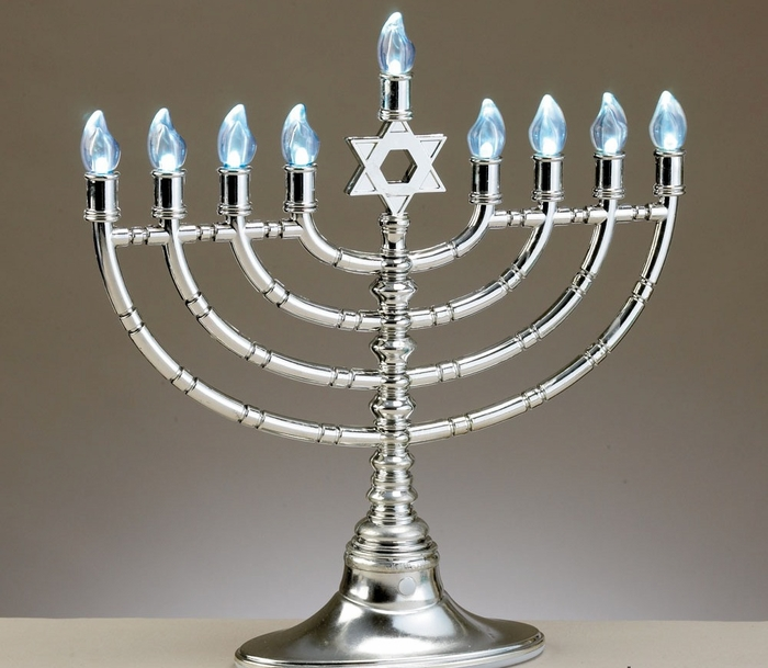 Silvertone LED Electronic Menorah