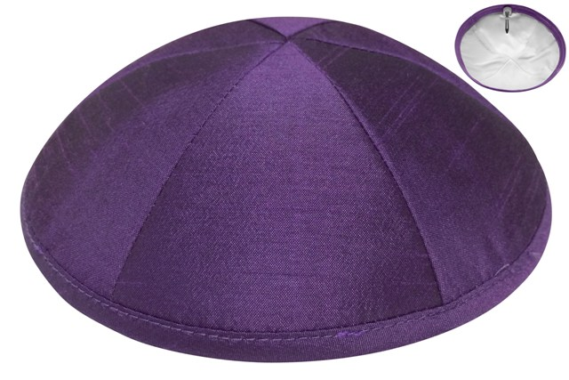 Purple Raw Silk Kippah
