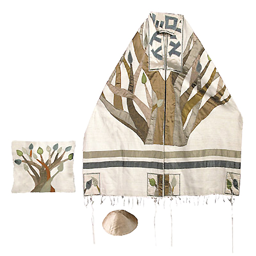 Raw Silk Tree of Life Tallit Set