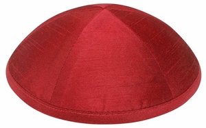 Red Raw Silk Kippah