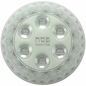 Seder Plate White Glass