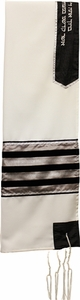 Viscose Rayon Black and Beige Tallit Set