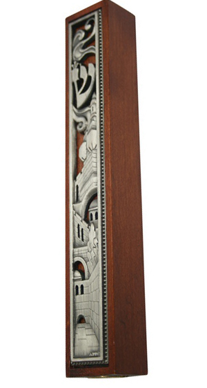 Wood Jerusalem Design Mezuzah
