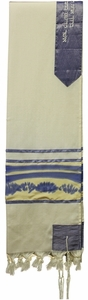 Wool Painted Slate Blue and Yellow Tallit Set