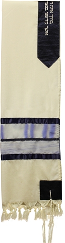 Wool Painted Blue Shades Tallit Set