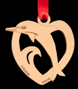 Dolphin Crest Birch Wood Christmas Ornament