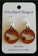 Koa Wood Earrings Maui Island