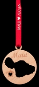 Maui Island Birch Wood Christmas Ornament