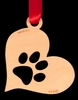 Paw Print Heart Birch Wood Christmas Ornament