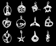 Sterling Silver BEACH and COASTAL  Charms