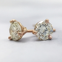 1.07ctw Diamond Stud Earrings set in 14k Rose Gold