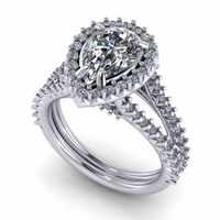 1.43ct Pear Shaped Diamond Halo Split Shank Ring