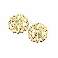 10K Gold Script Monogram Earrings
