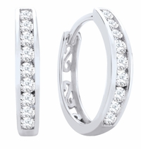 10K White Gold & Diamond Hoop Earrings, .15ctw