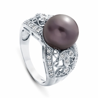 10K White Gold Pearl & Diamond Ring