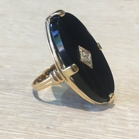 10K Yellow Gold, Black Onyx and Diamond Ring, circa 1960s