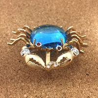 14K Gold, 16ct Topaz and Diamond Crab Pendant and Pin