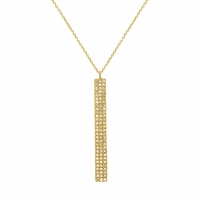 14K Gold and Diamond Pave Bar Necklace by Bassali