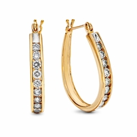 14K Gold & Channel Set Diamond Hoop Earrings - 1ct