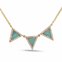 14K Gold, Turquoise and Diamond Triple Triangle Necklace by Bassali