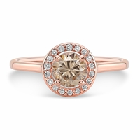 14K Rose Gold and Champagne Diamond Halo Ring
