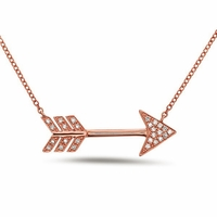14K Rose Gold and Diamond Arrow Necklace