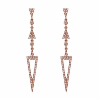 14K Rose Gold and Diamond Arrowhead Drop Earrings by Bassali