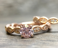14K Rose Gold and Pink Diamond Engagement Ring - .45ct Pink Diamond